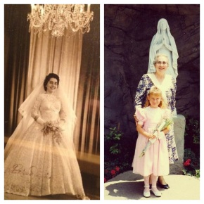 My abuela's wedding portrait & us at my 1st Holy Communion
